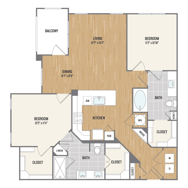 1,247 sq. ft. B3.1 floor plan