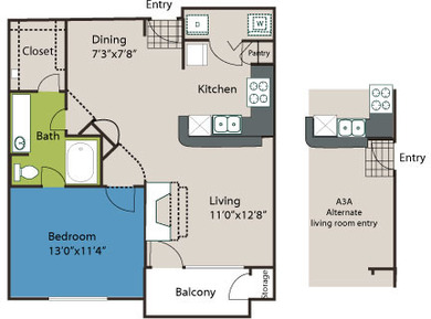 760 sq. ft. A3L floor plan