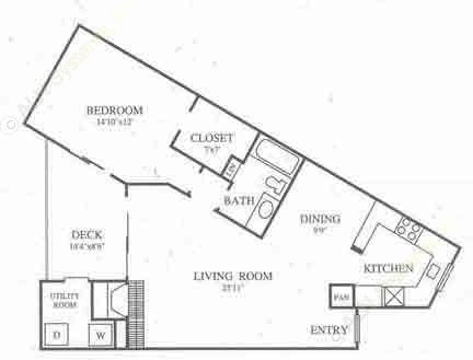 936 sq. ft. B2 Classic floor plan