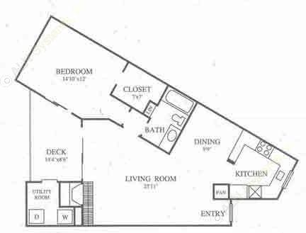 936 sq. ft. B2 Classic floor plan