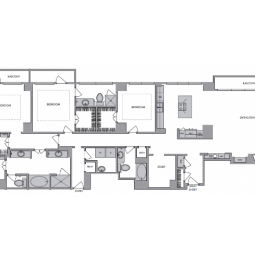 2,861 sq. ft. T floor plan