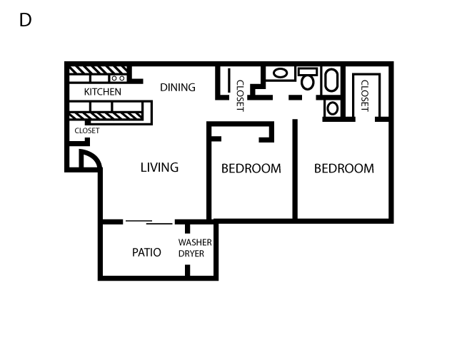 865 sq. ft. D floor plan