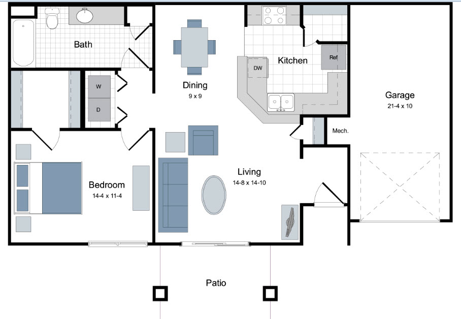 806 sq. ft. A1 floor plan
