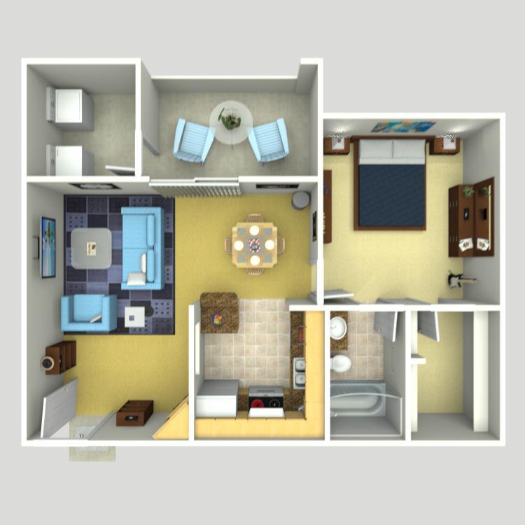 671 sq. ft. A-3 floor plan