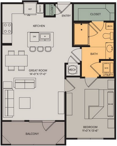 753 sq. ft. Horizon II floor plan