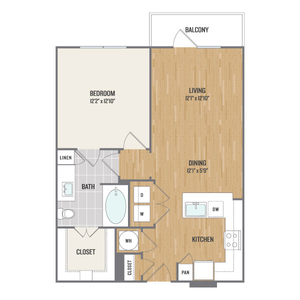 722 sq. ft. A4 floor plan