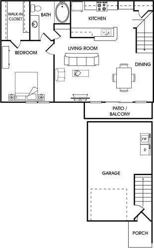 865 sq. ft. Cilantro floor plan