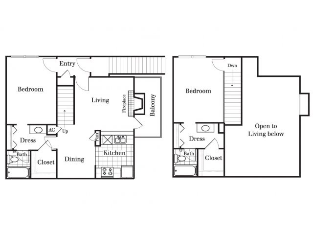 1,020 sq. ft. B4 floor plan