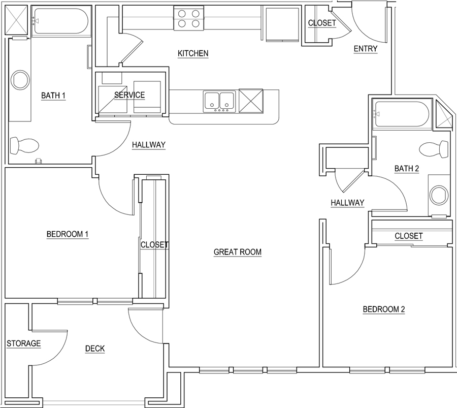 1,073 sq. ft. Scarlett/60% floor plan