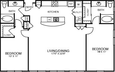 1,284 sq. ft. B3SOL floor plan