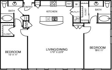 1,284 sq. ft. B3SOL floor plan