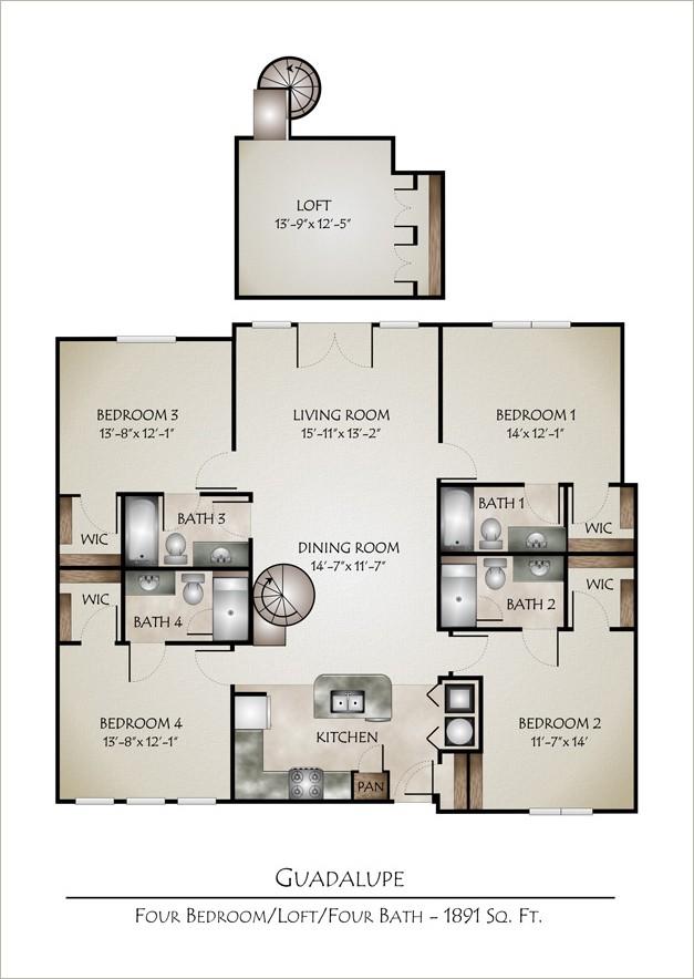 1,891 sq. ft. GUADALUPE(4/4 Loft) floor plan