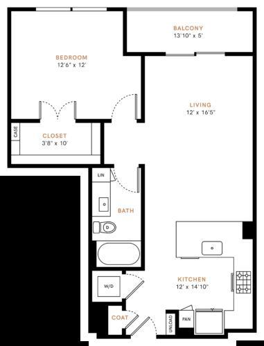 790 sq. ft. A2 floor plan