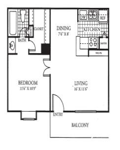 566 sq. ft. floor plan