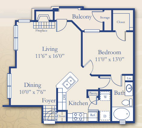 786 sq. ft. Hawthorn floor plan