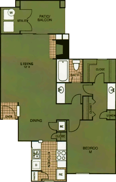 736 sq. ft. Elk Pass floor plan