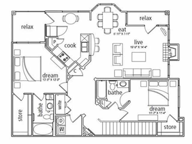 1,369 sq. ft. Prague floor plan