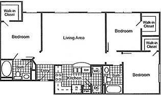 1,066 sq. ft. 50% floor plan