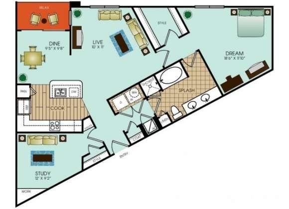 1,131 sq. ft. A18 floor plan