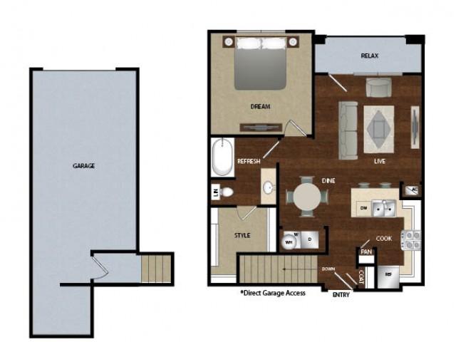 761 sq. ft. A2G floor plan