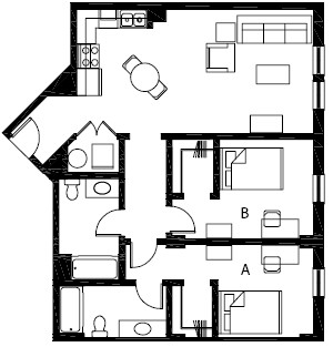 979 sq. ft. B5 floor plan