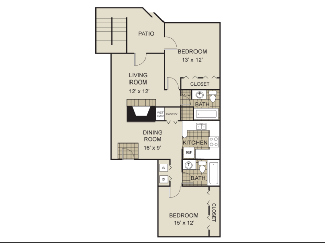 994 sq. ft. B2-A floor plan