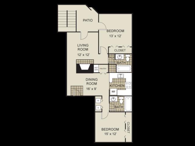994 sq. ft. B2-A floor plan