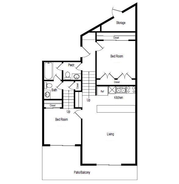 791 sq. ft. Starfish floor plan