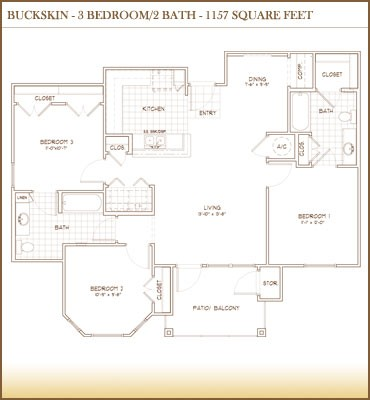1,157 sq. ft. Bucksin floor plan