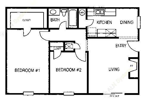 863 sq. ft. B1 floor plan
