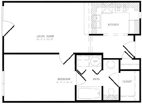 538 sq. ft. to 564 sq. ft. 1x1 Traditional floor plan