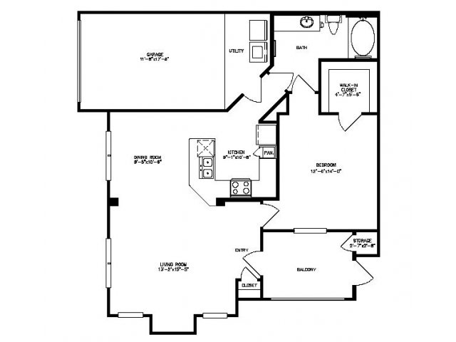 878 sq. ft. Laurel/Gar floor plan