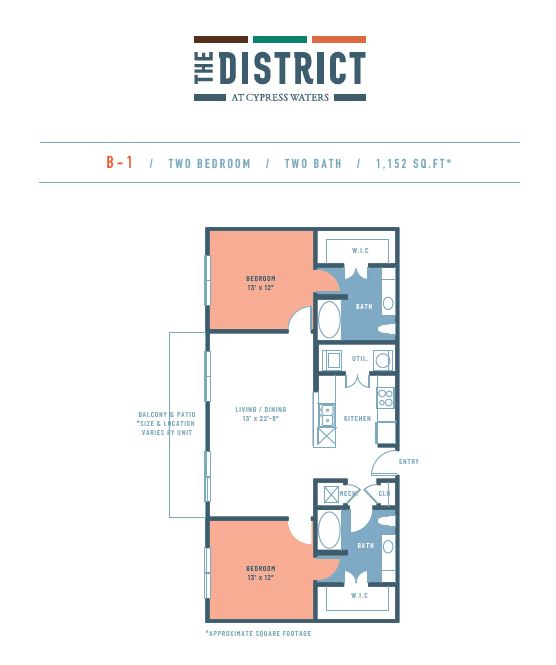 1,152 sq. ft. B1 floor plan
