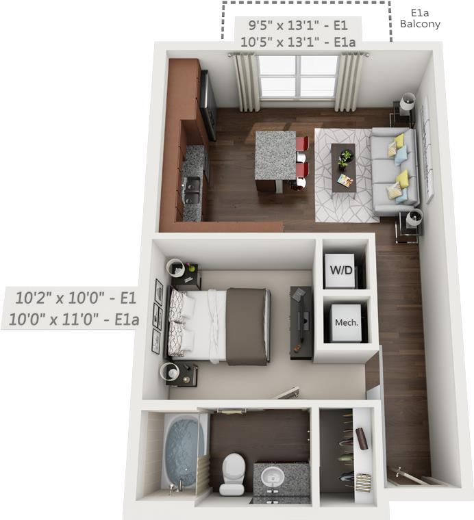 570 sq. ft. E1 floor plan