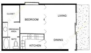 540 sq. ft. A ABP floor plan