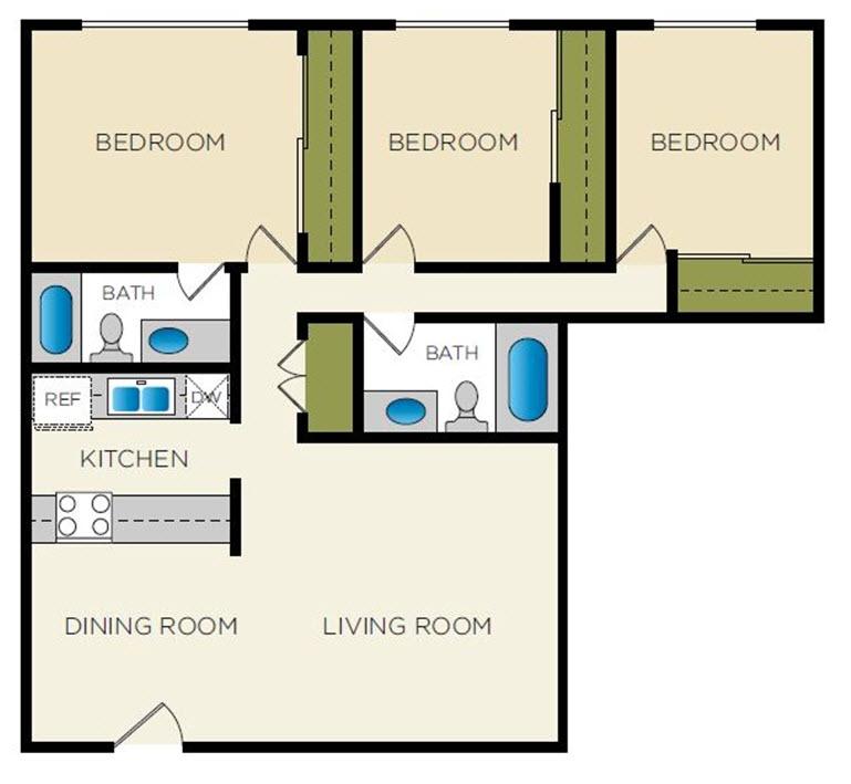1,368 sq. ft. C-2 floor plan