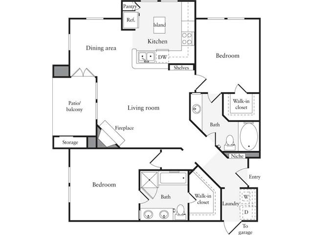 1,190 sq. ft. B5 floor plan