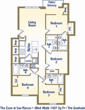 1,407 sq. ft. D2 floor plan
