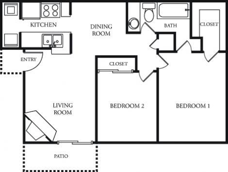 853 sq. ft. Coral Bay floor plan