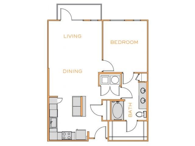 962 sq. ft. Cedar 2 floor plan