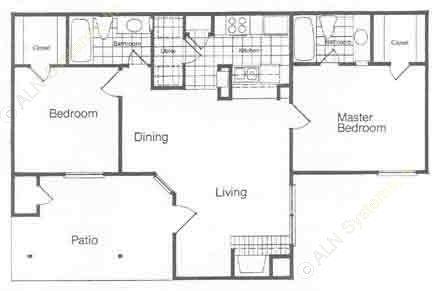 905 sq. ft. B floor plan