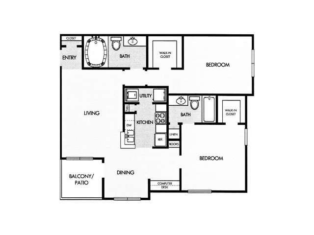 1,040 sq. ft. F floor plan