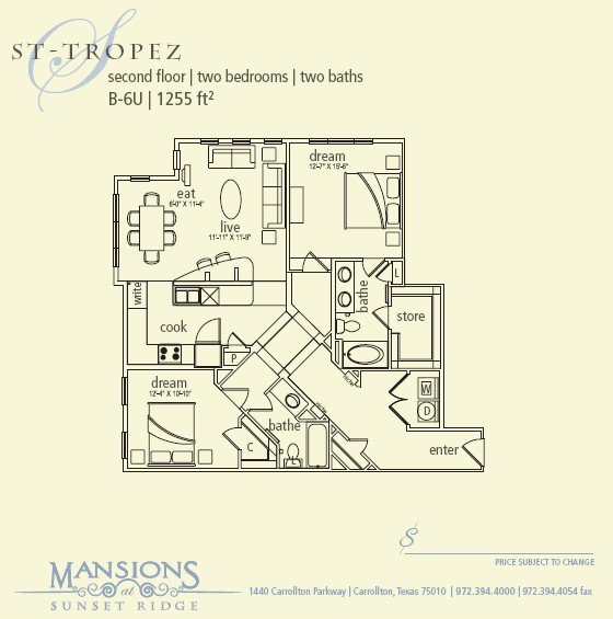 1,255 sq. ft. St Tropez floor plan