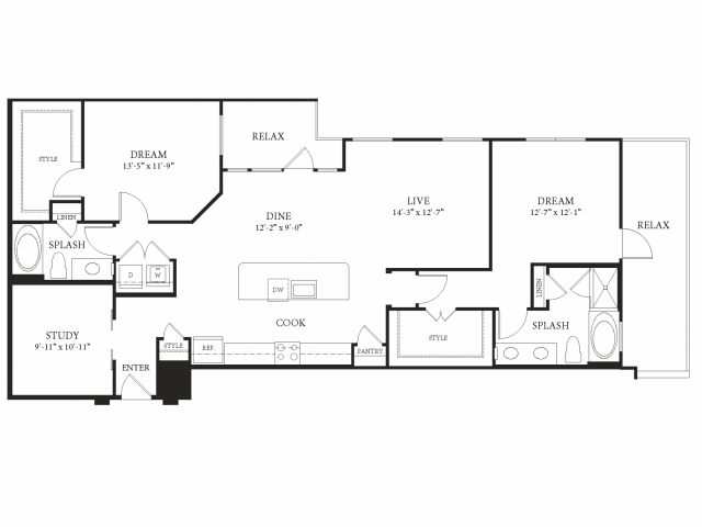 1,529 sq. ft. Belvedere floor plan