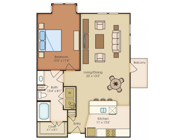 887 sq. ft. A1F floor plan