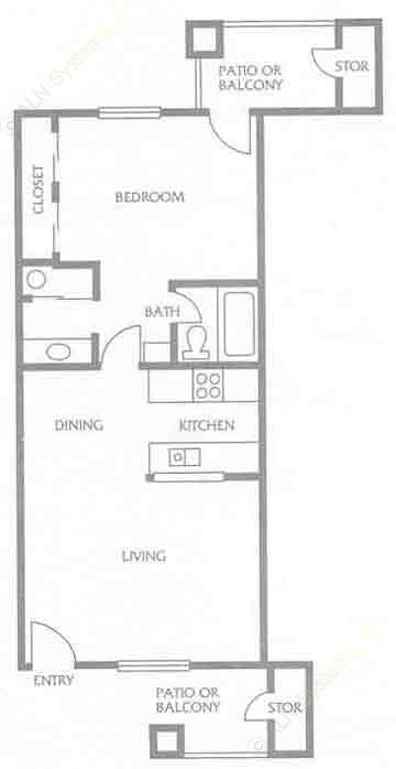 585 sq. ft. to 721 sq. ft. D floor plan