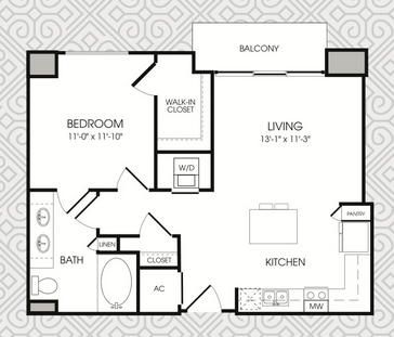753 sq. ft. to 768 sq. ft. A3 floor plan