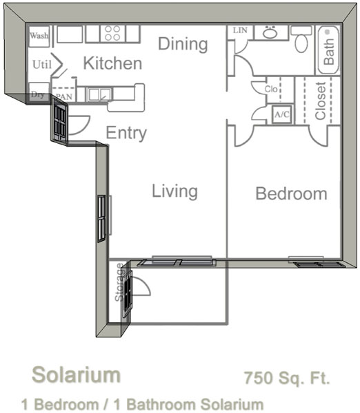 750 sq. ft. B floor plan