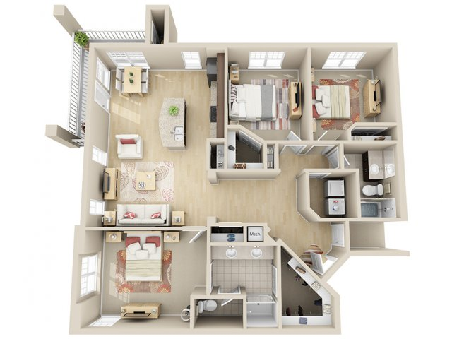 1,415 sq. ft. C2a floor plan