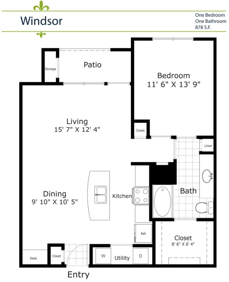 816 sq. ft. A4FY/Windsor 1st Floor Yard floor plan